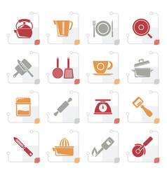 stylized kitchen gadgets and equipment icons vector image vector image