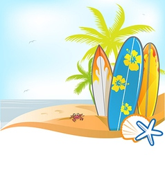 Summer background with surboard vector
