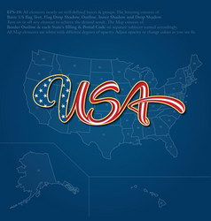 USA flag caligraphic text over map vector image