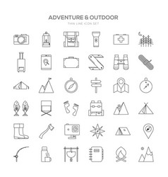 Various adventure thin line icon set design vector