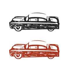 vintage hand drawn car retro car symbol design vector image