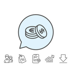 coins money line icon banking currency vector image vector image