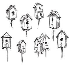 Set of hand drawn bird houses vector image