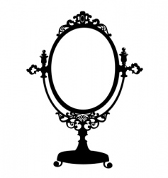 silhouette of antique mirror vector image vector image