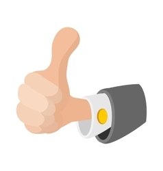 Thumb up gesture icon cartoon style vector image vector image