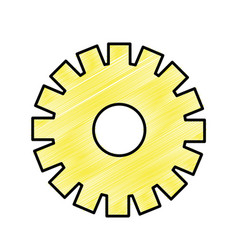 yellow gear symbol process industry vector image