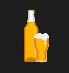bottle amp glass2 vector image