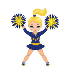 cheerleader in blue and yellow uniform with pom po vector image vector image