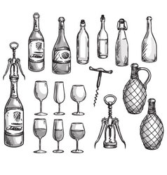 Set of wine bottles glasses and corkscrews vector image vector image