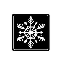 snowflake in black square vector image vector image