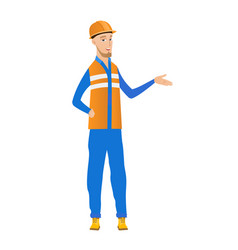 young builder with arm out in a welcoming gesture vector image vector image
