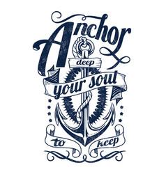 Anchor deep your soul vector