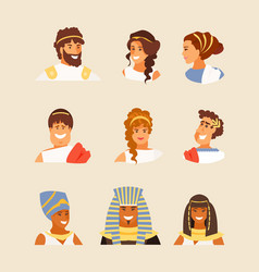 ancient greek roman and egyptian people vector image