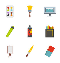 art instruments icons set flat style vector image