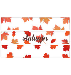 autumn banners with autumn lettering oak and vector image