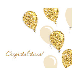balloons greeting card gold glitter and beige vector image