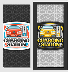 Banners for electric car charging station vector