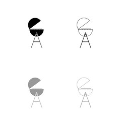 barbecue or grill black and grey set icon vector image