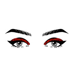 Beautiful women open eyes with red glitter makeup vector