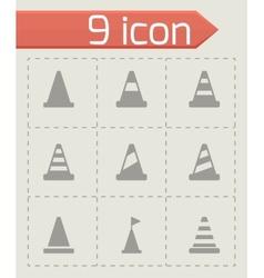 black traffic cone icon set vector image