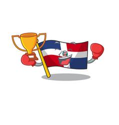 Boxing winner flag dominican republic mascot vector