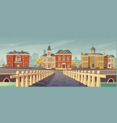 bridge over rivet and promenade old european town vector image