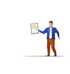 businessman hold checklist new contract concept vector image