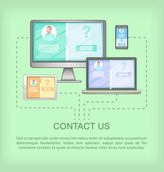 call center concept devices cartoon style vector image