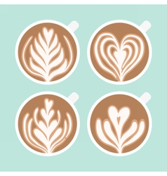 Cappuccino foam drawing Coffee art vector