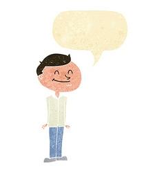 Cartoon smiling man with speech bubble vector