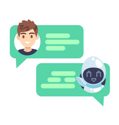 chatbot character online helper chatting with man vector image