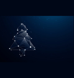 christmas tree in low poly style design vector image