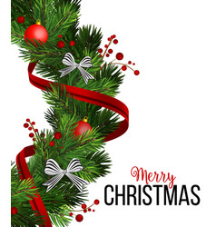 Christmas wreath decorations with fir tree vector