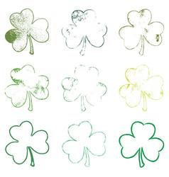 clover grunge leaves set vector image