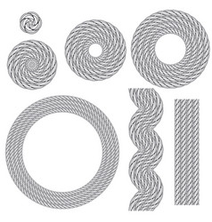 collection of round outline decorative rope border vector image