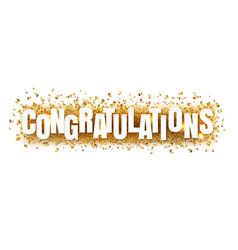 Congratulations text with confetti white vector