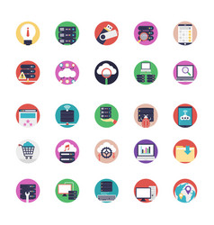 Database and cloud technology icons set vector
