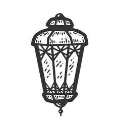 Decorative lantern sketch scratch board imitation vector