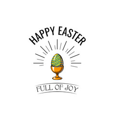 easter egg in stand icon easter greeting card vector image