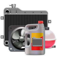 Engine cooling system parts with antifreeze vector