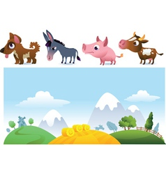 Farm landscape and animals vector