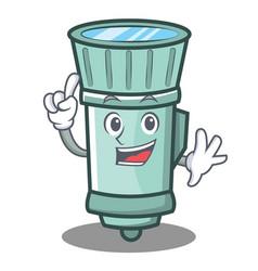 Finger flashlight cartoon character style vector