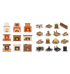 Fireplace isolated icons set logs wooden material vector