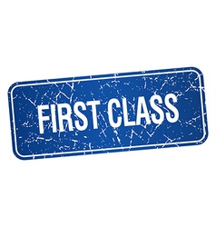 First class blue square grunge textured isolated vector