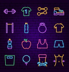 fitness neon icons vector image