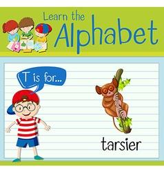 Flashcard letter T is for tarsier vector