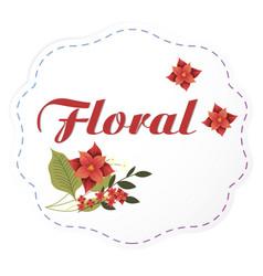 floral red flowers dashed lines frame image vector image