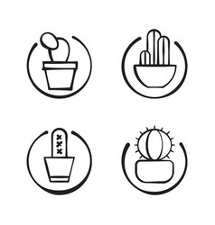 Four doodle cactuses on circle vector