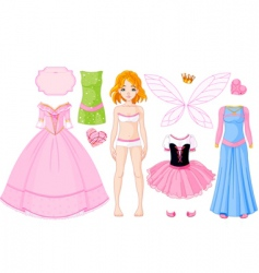 Girl with different princess dresses vector