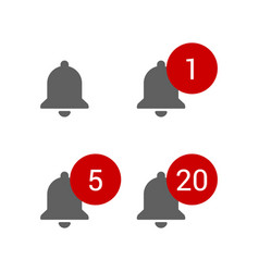 grey bells with red round message alerts chat or vector image